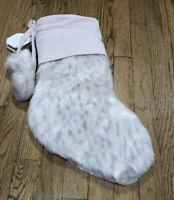 Pottery Barn Teen Blush Faux Fur Leopard Christmas Stocking NEW