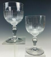 Pair Signed Baccarat France French Crystal Renaissance Water Glass Goblets 007