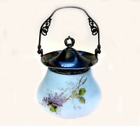 MT WASHINGTON/PAIRPOINT PAINTED LILAC BLUE/WHITE SATIN GLASS BISCUIT/COOKIE JAR