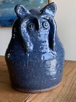 Reggie Meaders Blue Double Face Owl Jug Southern Pottery Georgia