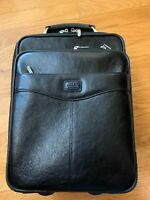 Condotti Leather Small Suitcase wheels with 27quot; retractable handle black