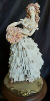 GORGEOUS ITALIAN PORCELAIN FIGURINE YOUNG LADY WITH ROSES SIGNED A.BELCARI 105quot;