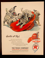 1950 Texaco Vintage Dalmations Puppies Advertising Fire Helmet Petroliana Ad