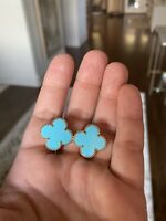 Authentic VAN CLEEF AND ARPELS Yellow Gold Magic Turquoise Earrings