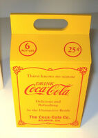 COCA COLA BOX 20#x27;s Style 6 pack Bottle Carrier Coke 7quot; Yellow Willitts 1990 MIB