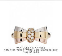 Van Cleef and Arpels 18k Tri Color Yellow Pink White Gold Diamond Bow Ring 5.75