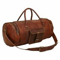 Travel Men#x27;S Brown Leather Retro Vintage Large Round Duffle Travel Gym Bag New