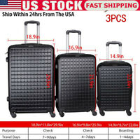3 Piece Luggage Sets Hard Shell SuitcaseSpinner Wheels ABS Set 20quot; 24quot; 28quot; Safe