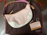 Coach Pink Bag With Mini Skinny coin ID Case and dust Cover