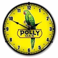 NEW POLLY GAS (YELLOW)  ADVERTISING L.E.D. LIGHTED RETRO CLOCK - FREE SHIPPING