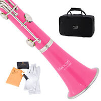 MENDINI PINK ABS Bb CLARINET W/ CASE,CARE KIT,11 REEDS FOR STUDENT, BEGINNER