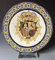 Longwy France Antique Pottery Majolica Dragon Charger Plate Platter 19c majolica