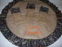 SINGLE Custom made Christmas  Camo Burlap stockings personalized with NAME