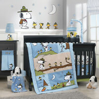 Lambs Ivy Snoopy S Campout 5 Piece Baby Nursery Crib Bedding Set W Per New
