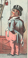 GLEN WILD NY. UNCLE SAM LOOKING DUMPY amp; FAT NEW HOME SEWING TRADE CARD TC1150