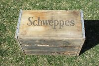 Vintage Schweppes Wooden Soda Crate Wood Box In Good Condition San Francisco-Oak
