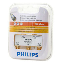 PHILIPS TV ANTENNA CABLE SPLITTER 4 WAY 24K GOLD PLATED USA SWV3040W 27 $8.09