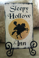 Primitive Halloween Sign Headless Horseman Sleepy Hollow Inn Wooden Sign Crackle