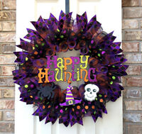 LARGE Handcrafted Door Wreath for Halloween with Glittered Happy Haunting Sign
