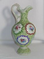 Antique Nippon Handpainted Porcelain Moriage Handled Ewer