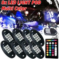 8X Multi-color LED Rock Light Under Glow Body Neon Kit Music Remote Controller