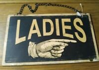 Restroom Vintage Style Rustic Hanging Metal Bathroom Ladies amp; Gentleman Sign