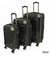 3 Piece Hard Side Lightweight Expandable Spinner Luggage Set Bags Travel Black