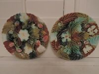 Pair Antique French Majolica Strawberry Leaf 8.5