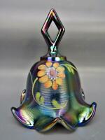 Fenton GOLDEN DAISY Amethyst Carnival HP Threaded Bell w/Diamond Optic Int. 6291