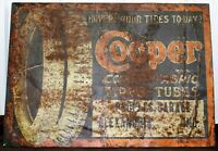 Antique RARE 1920's COOPER CORD AND FABRIC TIRES TUBES METAL SIGN 100 Years Old!