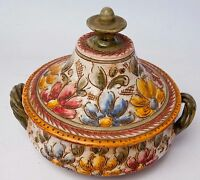 vintage majolica covered dish bowl with lid made in Italy