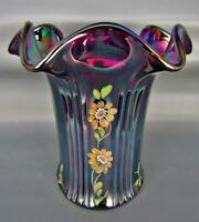 Fenton GOLDEN DAISY Gorgeous Amethyst Carnival Glass Hand-Painted 6