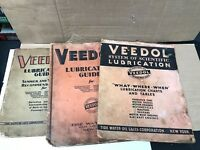LOT OF 3 VINTAGE 1930, 1931, 1932 FLYING A TYDOL VEEDOL LUBRICATION GUIDES