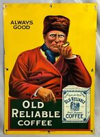 1920s OLD RELIABLE COFFEE Advertising Tin Litho SIGN Original ANTIQUE