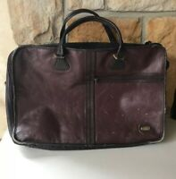 quot;LANDquot; LEATHER Vintage Suitcase Bag Carry On OvernightSatchel Luggage *READ