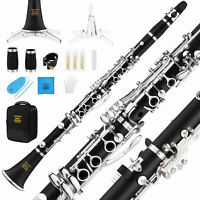 B Flat Clarinet Wind Band Commander Ebonite Silver Keys with Hard Case Gloves