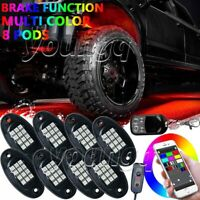 8 Pod RGB LED Rock Light Neon Under Body Glow bluetooth APP Control For Toyota