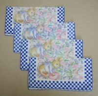 4 Bunny Hop Easter Napkins Bardwil Blue Checked Cotton Blend Fabric 16quot; x 16quot;