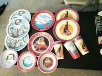 Lot of 13 New Gibson Coca Cola Plastic Plates Bowls Cups Santa Polar bear