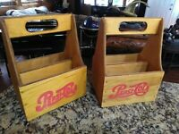 TWO PEPSI COLA  WOODEN SIX PACK BOTTLE CARRIERS ONE WITH ERRORS!