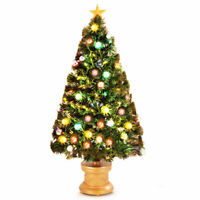 4Ft Pre-Lit Christmas Tree Fiber Optical Firework w/ Ornaments & Gold Top Star