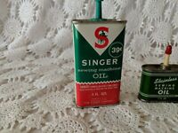 Singer Sewing Machine Oil Stainless Sewing Machine Oil Tins 1 oz and 4 oz Vtg