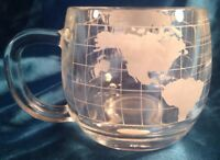 Nestle Company 8 Etched Glass Mugs/World Map Vtg (2 sets of 4) NEW in Org BOX
