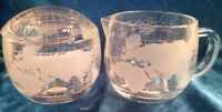 VINTAGE NESTLE Co NESCAFE GLASS WORLD GLOBE MAP CREAMER & SUGAR - New in box