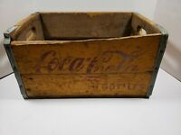 Antique Vintage Wooden Coca Cola Crate Yellow With Red Lettering