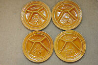 Sarreguemines Pottery La Fondue set of 4 France Divided Dinner Plate Dish Cow