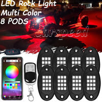 8x Pod RGB LED Rock Light Offroad Wireless bluetooth Music Control For ATV Truck