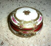 1920's Noritake / Nippon Hand Painted Gold Encrusted Covered Trinket Box