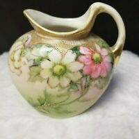 Antique Nippon Hand Painted Floral Creamer Pitcher Moriage Gold Gilt