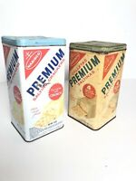 Vintage Set 2 Premium Saltine Cracker Tins Nabisco Metal Canister Cans 1960's